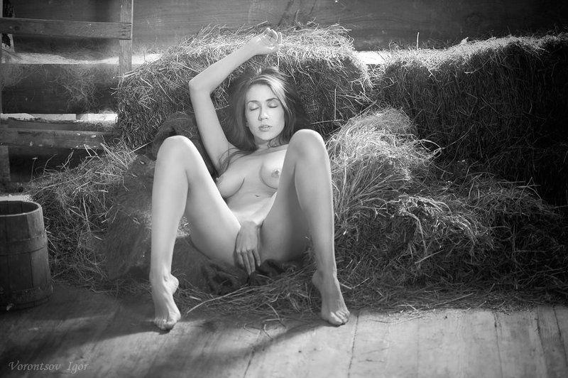 девушка, ню, сеновал, обнажённая, голая photo preview