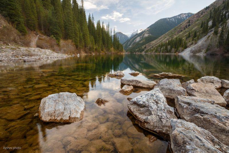 пейзаж, кольсай, озеро, отражение, горы, лес, казахстан Кольсай-1photo preview