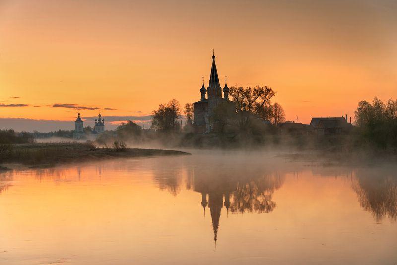 дунилово, май, рассвет.. туманное утро...photo preview