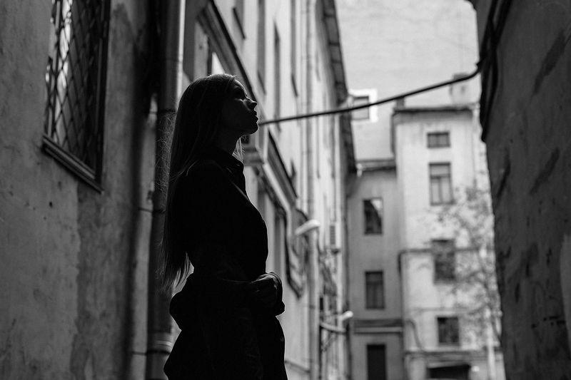 портрет, девушка, ветер, ритм, арт, чб ***photo preview