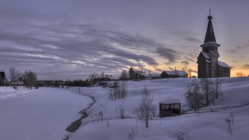 зима, деревня, вечер photo preview