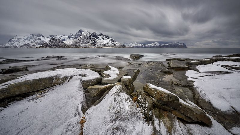 arctic, background, beautiful, beauty, blue, clouds, coast, cold, dramatic, europe, freeze, frost, ice, idyllic, lake, landscape, lofoten, mountain, nature, near, nordland, north, norway, outdoor, panorama, peaks, polar, range, road, rock, rocky, scandina On a cloudy dayphoto preview