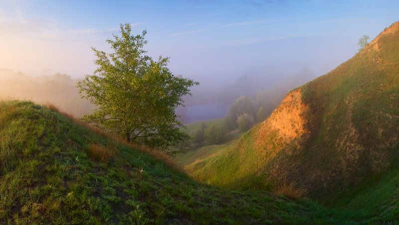 рассвет, fog, light, morning, panorama, river, spring, sunrise, весна, май, панорама, Псел, река, свет, туман, Утро, холмы, Misty, may, foggy, Psel Утро полное светомphoto preview