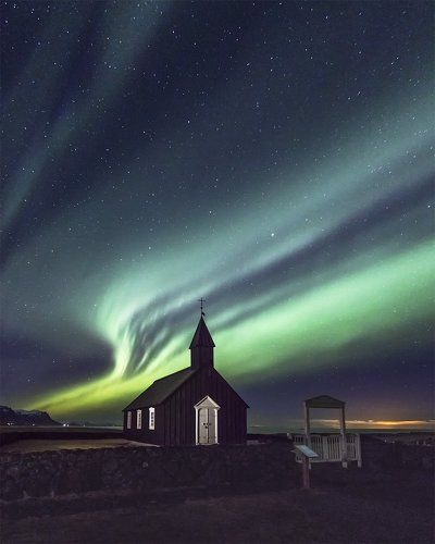 Budir church & northern lights, Iceland
