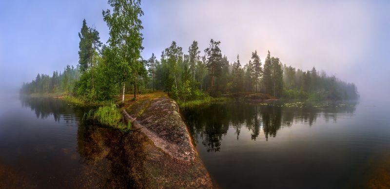лето, болото, север, фототур, ленинградская область, озеро, туман, рассвет. Гранитный берег озера.photo preview