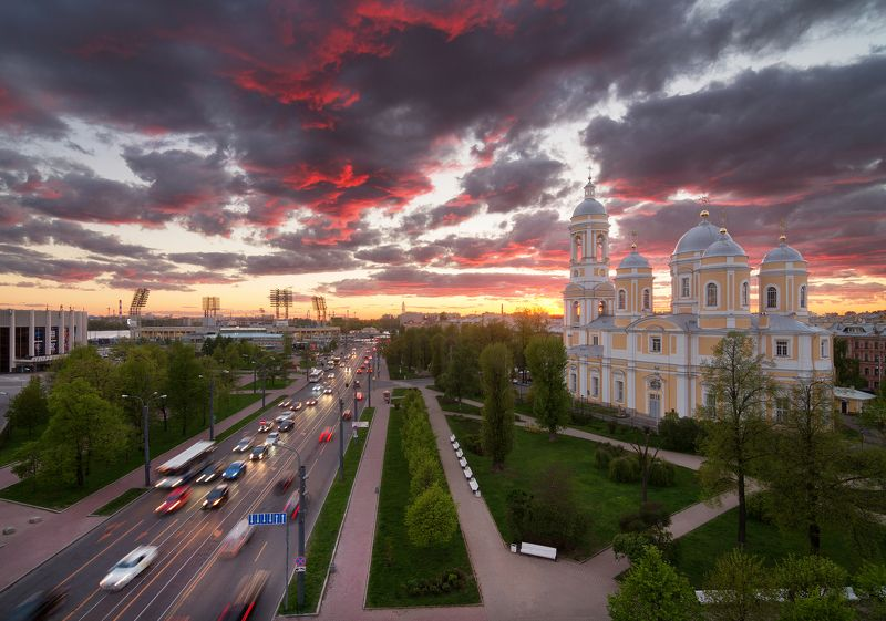 Церковь, Санкт-Петербург, крыша, закат Князь-Владимирский скверphoto preview