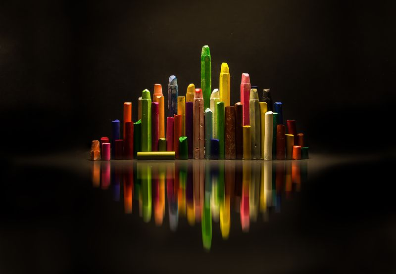 city, abstract, concept, reflections, art, pastels, crayons, pencils, colors City of colorsphoto preview