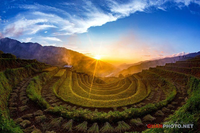 #quanphoto,#landscape,#sunset,#sundown,#clouds,#sky,#mountains,#rice,#terraces,#vietnam,#valley,#farmland,#agriculture,#mucangchai Rice Terraces Sunsetphoto preview