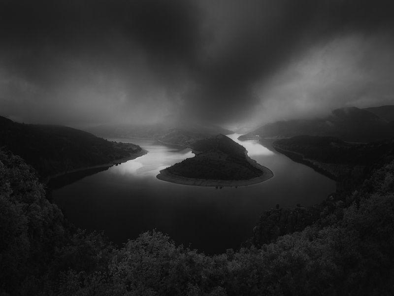 river, arda, bw, landscape Arda river in Bulgariaphoto preview