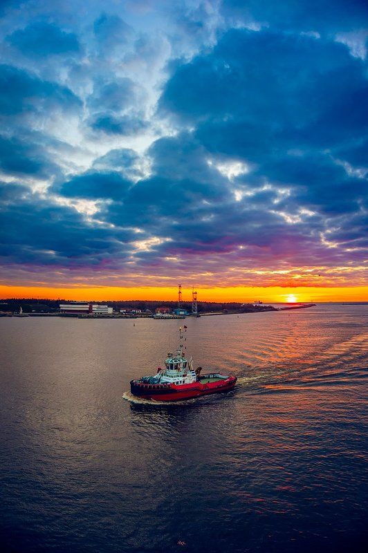 lithuania, klaipeda, port, sunset, tug Evening in portphoto preview