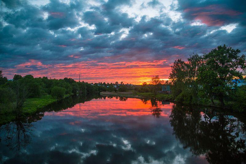 Лежнево, Россия, пейзаж, закат, отражения Отраженияphoto preview