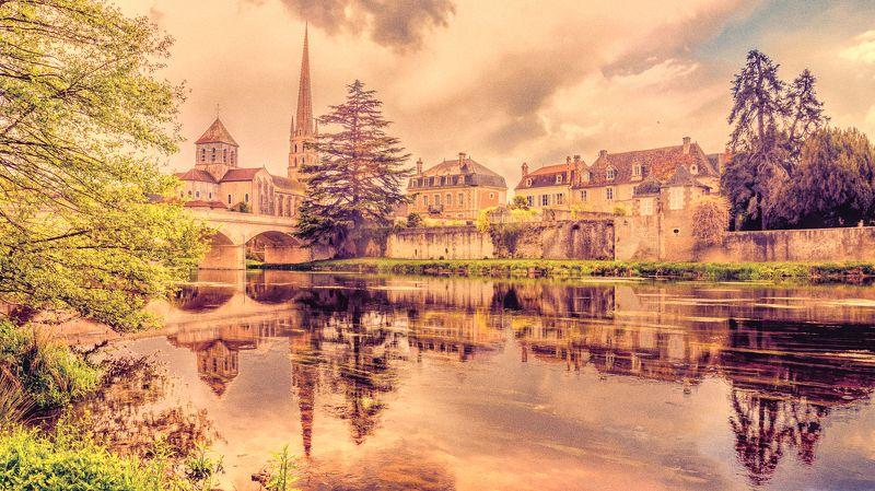 сен-савен, saint-savin, сен-савен-сюр-гартамп, saint-savin-sur-gartempe, france, sunset sky, river, bridge, гартамп, Закатные облака над Сен-Савен...photo preview