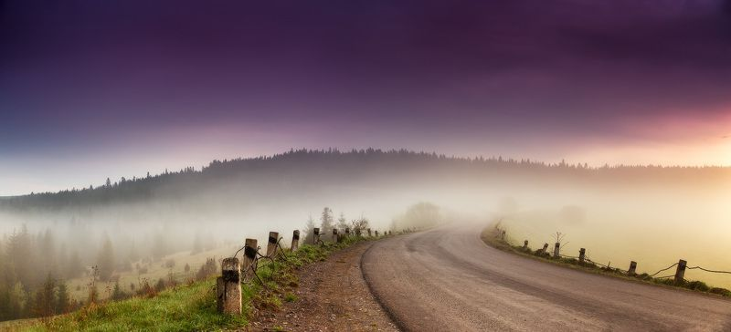 горы, карпаты, весна, рассвет, май, туман, украина, утро, дорога Рассветная дорожнаяphoto preview