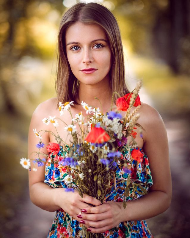 beauty, portrait, girl, young, female, flowers Girl with flowersphoto preview