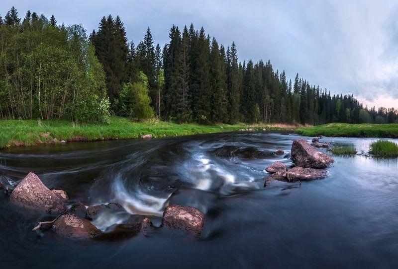 фототур, весна, ленинградская область, деревья, лес, река, камни, сумерки, белые ночи, порог. Порог на реке.photo preview