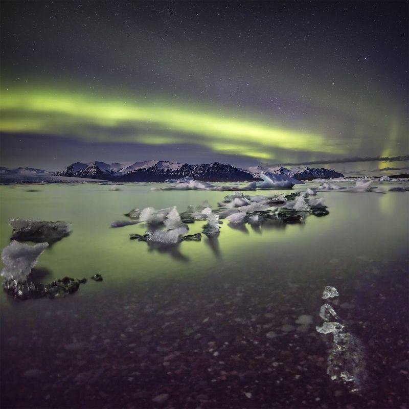 iceland, aurora, northern, lights, jokulsarlon, lagoon Jokulsarlon lagoon & northern lights.photo preview