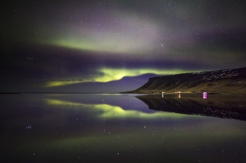 iceland, aurora, northern, lights Simple reflection of northern lights.photo preview