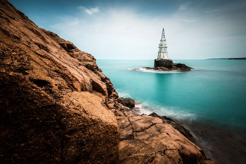 sea,lighthouse, water,rock,clouds,sky,summer,landscape, nature The lighthousephoto preview
