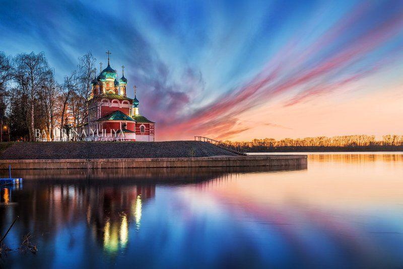 углич, дмитрий на крови, закат, волга, храм Храм Дмитрия на Крови в Угличеphoto preview