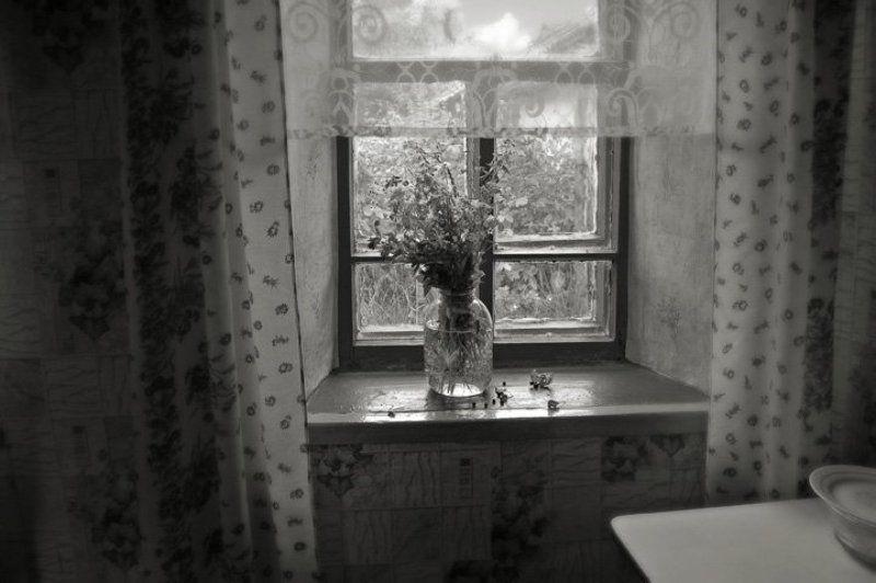 деревня, окно, цветы Окно в деревнеphoto preview