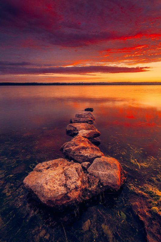 landscape, sunset, colors, stones, curonian gulf, lithuania The Omenphoto preview