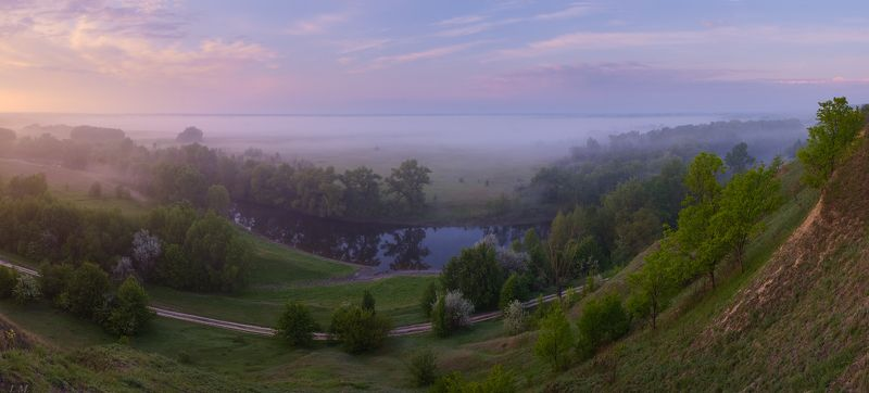 утро, туман, весна, рассвет, май, панорама, холмы, река, псел, spring, morning, fog, river, psel, panorama за туманами ...photo preview