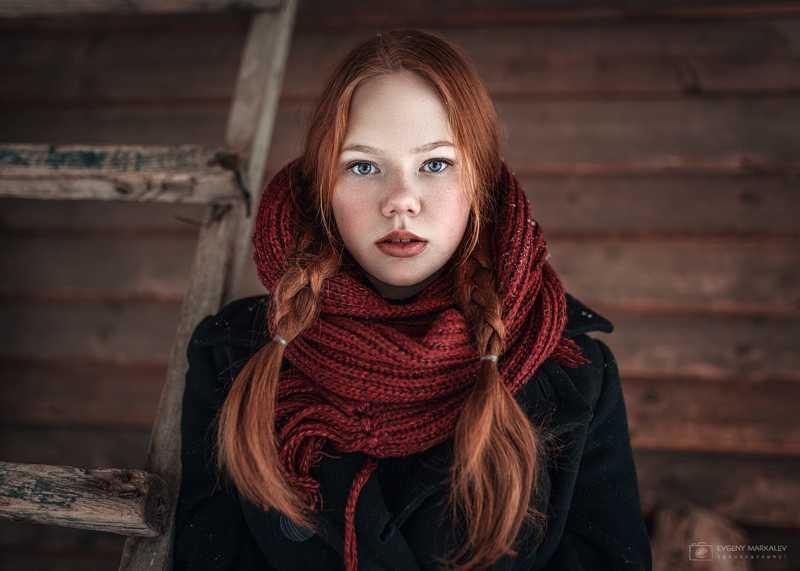 портрет, девушка, зима Ангелинаphoto preview