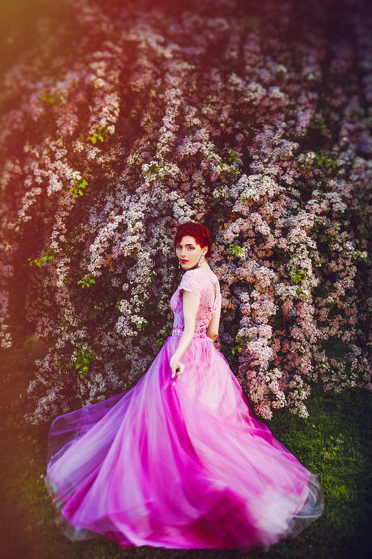 woman, beauty, dress, blooming, tree, motion, mood Let Yourself Bloomphoto preview