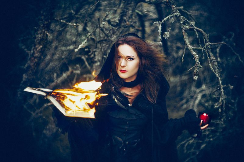 woman, portrait, natural light, witch, book, fire Summoning the windphoto preview
