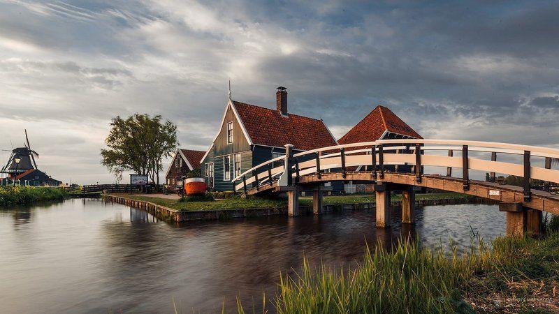 голландия, holland, village, landscape, sunset, Голландская деревняphoto preview