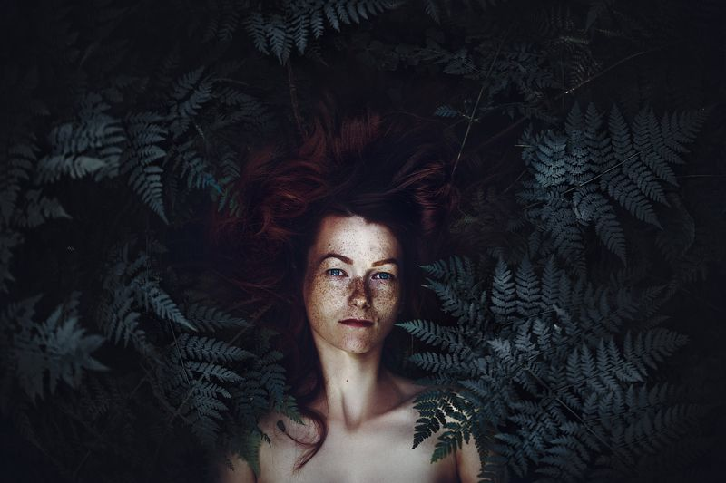 woman, freckles, portrait, natural light, fern, toning The Forest Soulphoto preview