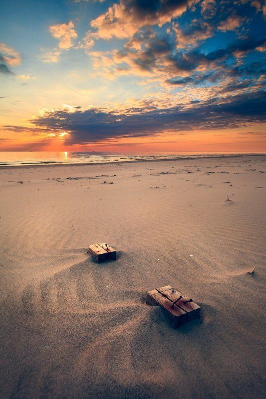 sunset, baltic sea, seascape, sand, clouds, colors Sunset for Twophoto preview