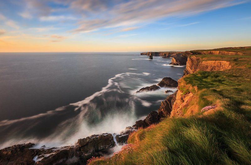 kilkee cliffs,cliffs of moher,ireland,clare,galway,lee,bigstopper,longexposure,long exposure, seascapes, seastack,clouds Kilkee Cliffsphoto preview