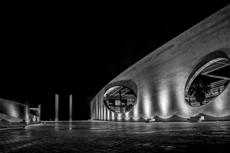 architecture., bnw, black and white, art, nightscape, Lisbo, Portugal Champalimaud Foundationphoto preview