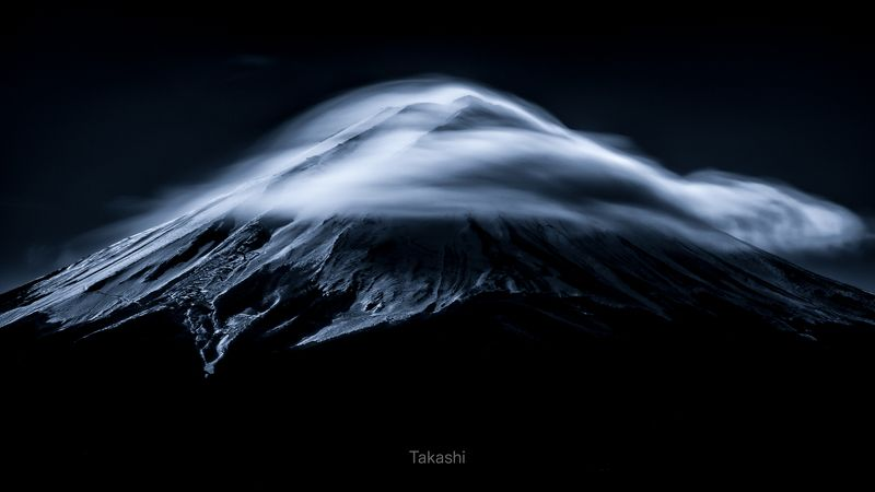 fuji,mountain,cloud,blue,sky,snow,amazing,wonderful,beautiful, Noble mountain (blue ink version)photo preview