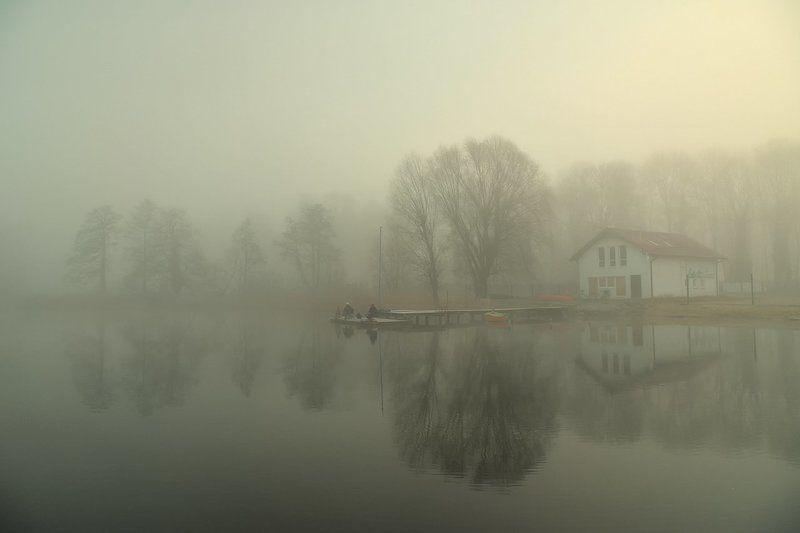 гавань przystań mist foggy water trees peace silence poland mirror гаваньphoto preview