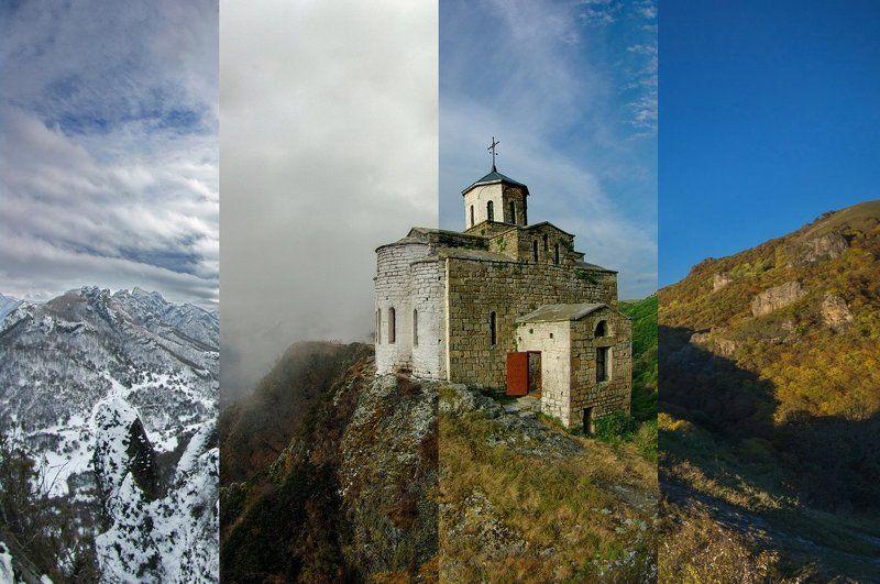 горы, предгорья, хребет, вершины, пики, храм, шоана, монастырь, религия, вера,дрон, квадрокоптер,скалы, холмы, долина, облака, путешествия, туризм, карачаево-черкесия, кабардино-балкария, северный кавказ ВРЕМЕНА ГОДАphoto preview