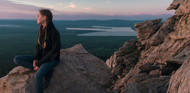 ural, mountain, mountains, rocks, rock, girl, morning, dawn, russia, lake, top,  Zuratkulphoto preview