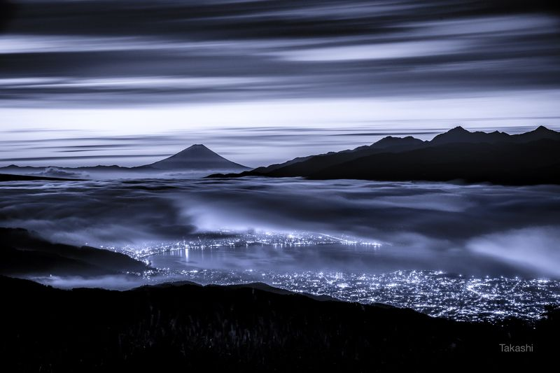 fuji,Japan,mountain,clouds,sky,lake,night,wonderful,amazing, Dawn in blue (blue ink version):photo preview