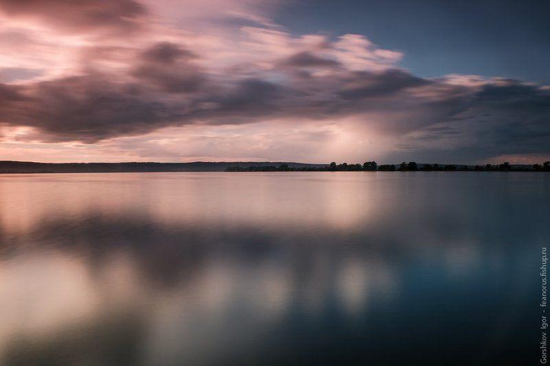 река,кама,татарстан,длинная выдержка,закат,вода,небо Кама рекаphoto preview