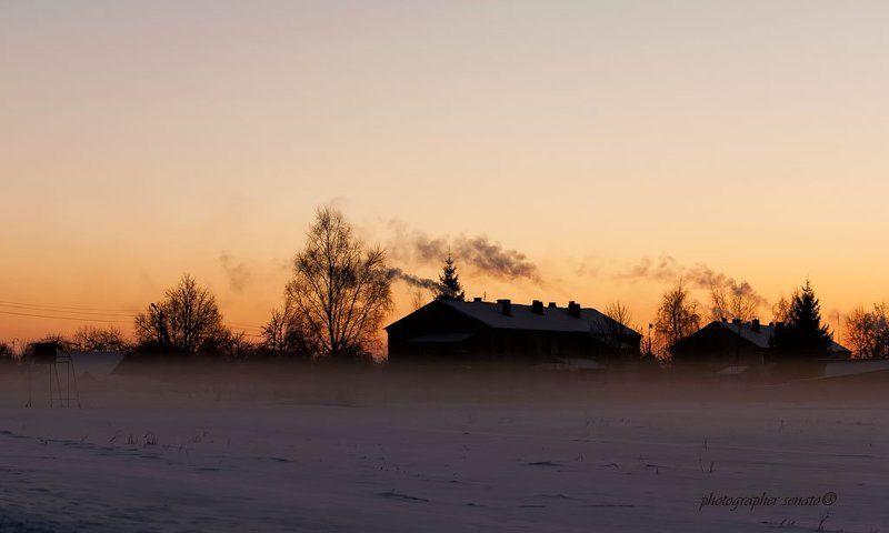 метель,lithuania,evening,snow,after sunset,smoke,fog,mist Mетельphoto preview