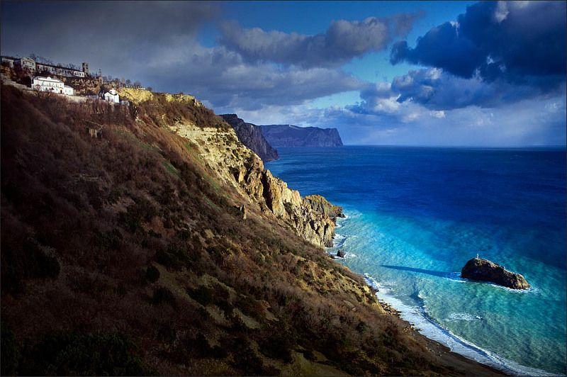 фиолент, крым, море, шторм, крест, монастырь теньphoto preview