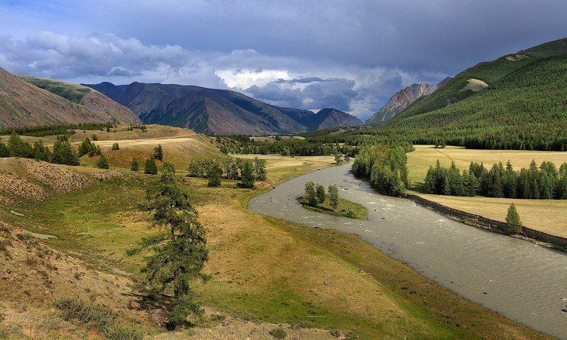 тучи, лето, горы, алтай, пейзаж, природа Горный ландшафтphoto preview