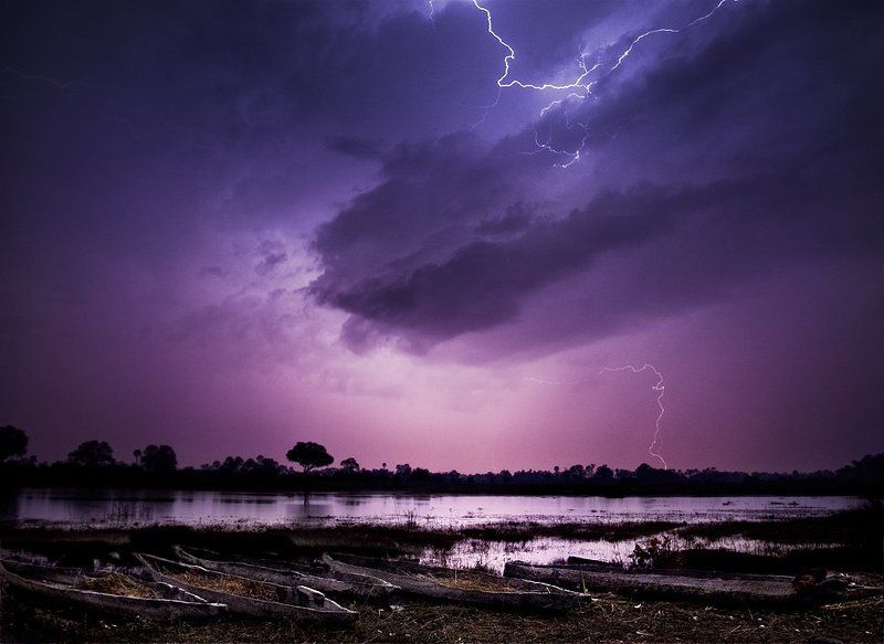 okavango, storm, lightning, africa, botswana, lake,  photo preview