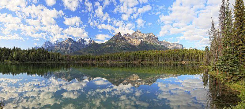 отражения, озеро, парк, банф, канада, джаспер ***photo preview