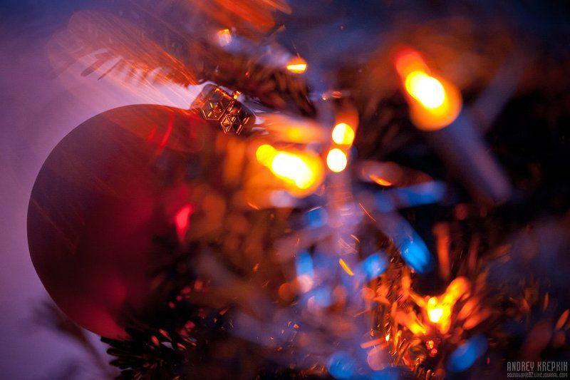 новый год, макро, ёлочный шар, гирлянда С Новым годом!photo preview