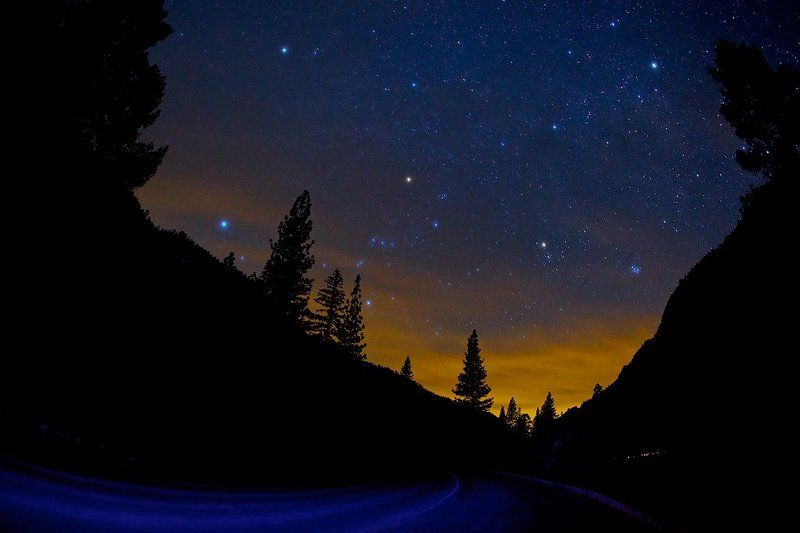 usa, road, night, yosemite, stars A road to starsphoto preview