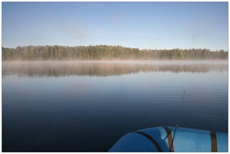 утро, туман, лодка, озеро, селигер Рыбацкая ностальгическаяphoto preview