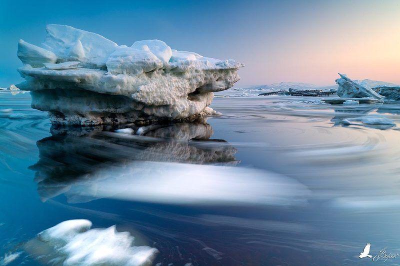 лёд, море, вода, отражение, вечер, закат, прилив Вечерний хороводphoto preview