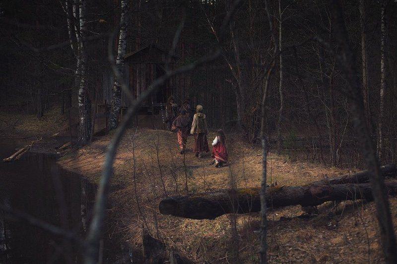 сказа, лес, репортаж,персонаж, избушка, река, берег, чаща, dyadyavasya Зарисовка из сказкиphoto preview